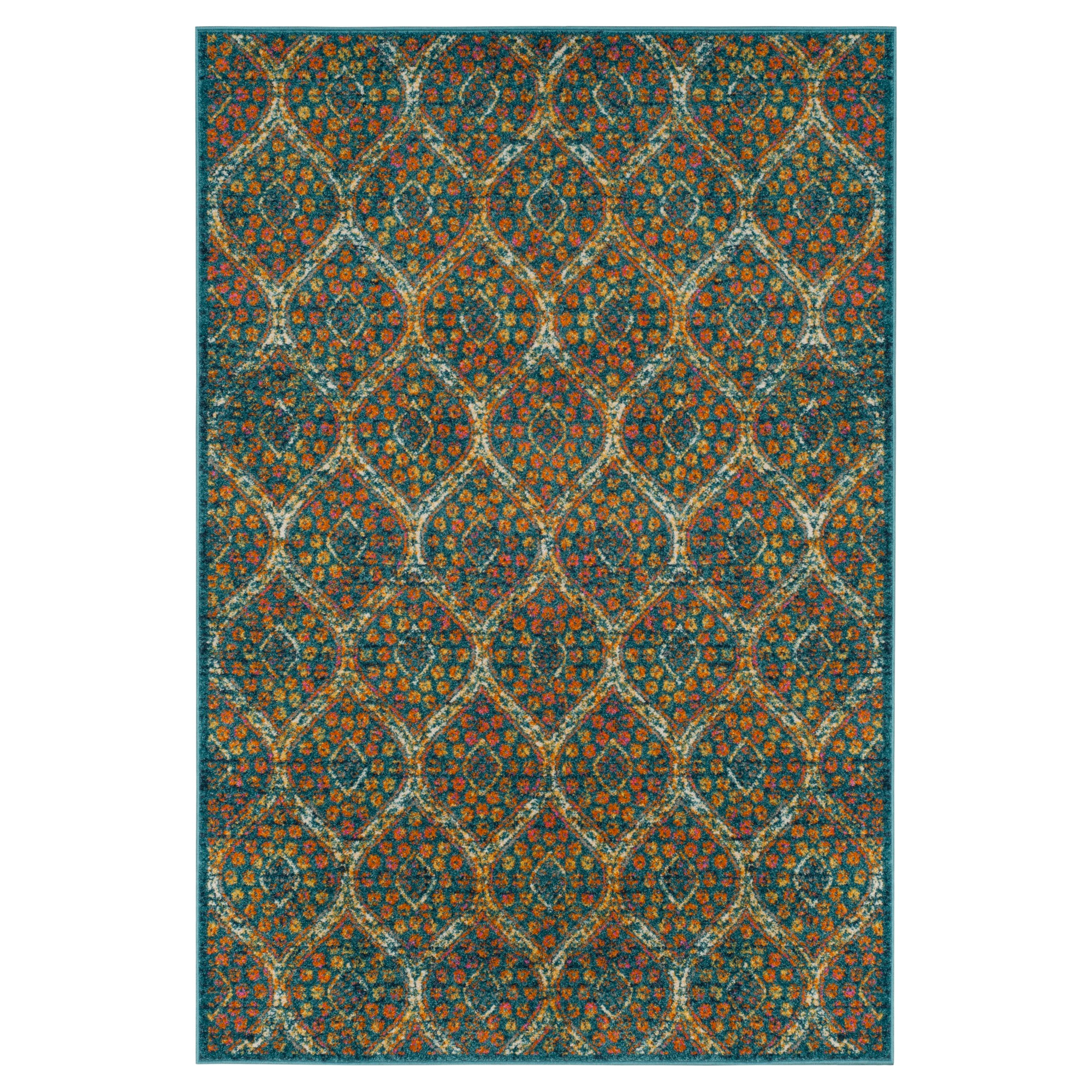 Blue/orange Floral Loomed Area Rug 8'X10' - Safavieh, Orange Blue