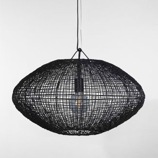 Natural Woven Oblong Large Pendant Lamp Black (Includes Energy Efficient Light Bulb) - Project 62™ + Leanne Ford