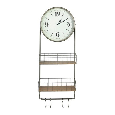 Round Metal and Wood Wall Clock Bronze - 3R Studios