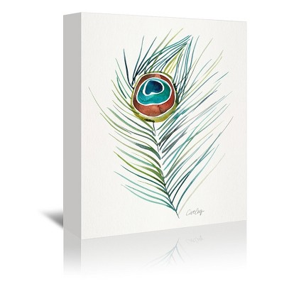 Americanflat Peacock Feather Original by Cat Coquillette Canvas