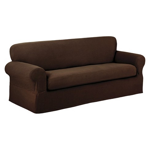 Chocolate Stretch Reeves Sofa Slipcover (2 Piece) - Maytex - image 1 of 3