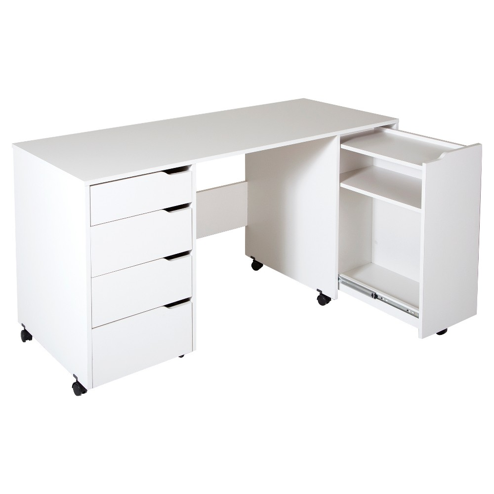 Crea Sewing Craft Table On Wheels - Pure White - South Shore Whatever you're into - be it handicrafts, sewing or jewellery making - every artist needs a dedicated work space. This sewing table from the Crea collection means you can set up your own creative space, so you'll no longer need to use the kitchen table and put everything away when you're done. And the built-in casters mean you can move it anywhere you like! Casters with built-in stops Metal drawer slides Accessories not included Requires complete assembly by 2 adults (tools not included) Ships in a heavy box, make sure to have a friend with you Packaging tested and certified to reduce the risk of damage during shipment Made in North America with non-toxic laminated particleboard 5-year limited guarantee. Any questions? Contact South Shore, the manufacturer, available 7/7 by phone, email or chat Color: White.