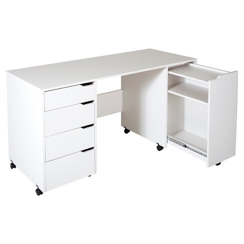 Crea Sewing Craft Table On Wheels - Pure White - South Shore - image 1 of 9