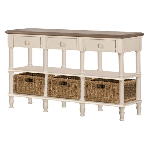 Seneca Sofa Table With Three Drawers Baskets Included Wood Driftwood Top Sea White Base Natural Seagr Hilale Furniture Target