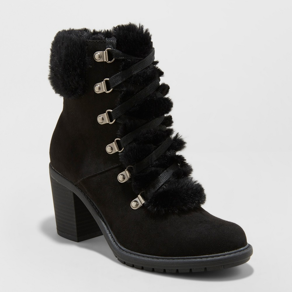 Women's Larina Faux Fur Heeled Boots - A New Day Black 7