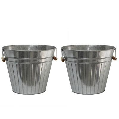 2pk Tin Decorative Bucket Silver - Bullseye's Playground™