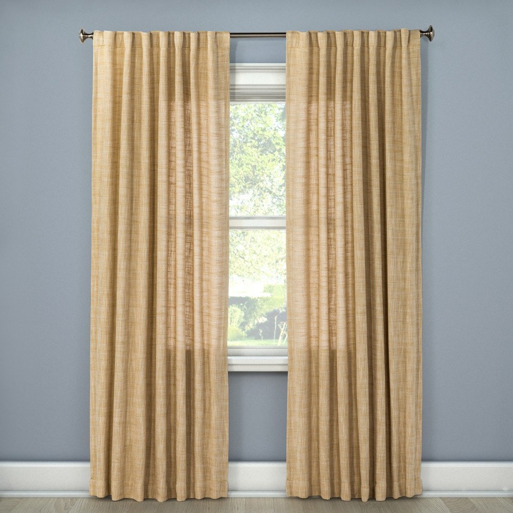 108x54 Textured Weave Back Tab Window Curtain Panel Wheat - Threshold was $34.99 now $17.49 (50.0% off)