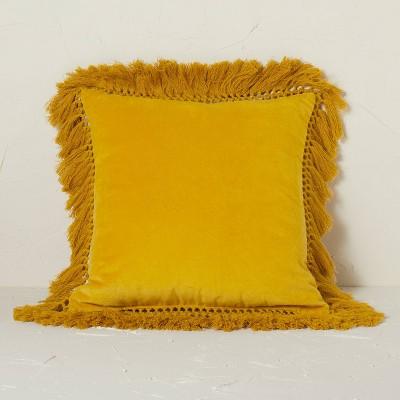 Square Velvet Fringe Decorative Throw Pillow - Opalhouse™ designed with Jungalow™