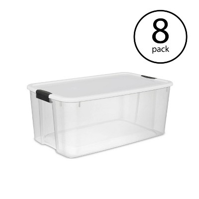 Sterilite 116 Quart Ultra Latching Clear Plastic Storage Tote Container, 8 Pack