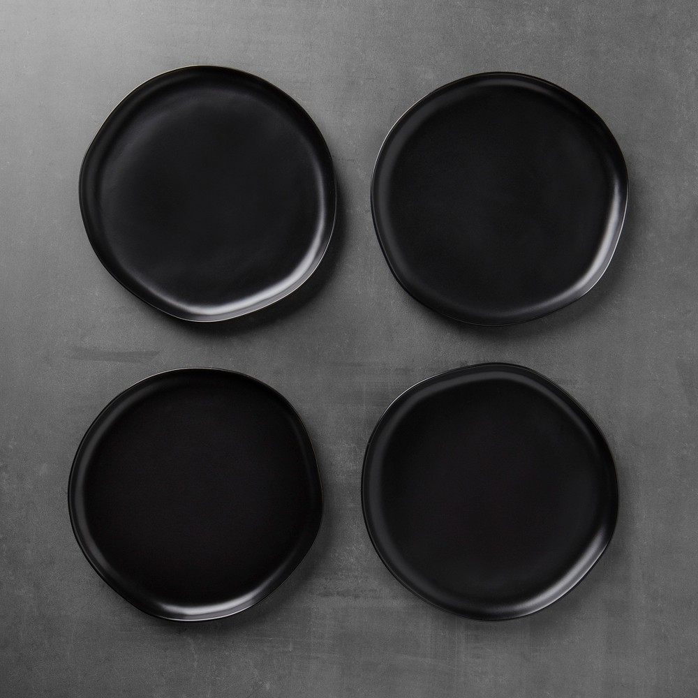 Image of 4pk Stoneware Dinner Plate Set of 4 - Black - Hearth & Hand with Magnolia, Size: 4 Pack