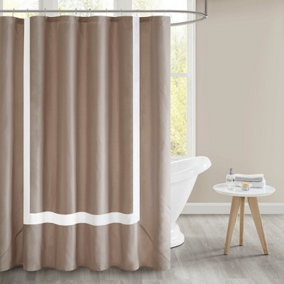 Floyd Pieced Border Lined Shower Curtain Tan