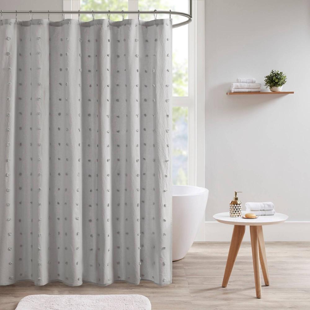 Kay Cotton Pom Pom Shower Curtain Gray
