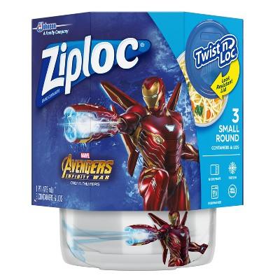 Ziploc Marvel Avengers Infinity War Design Twist and Lock Food Storage Container - 3ct