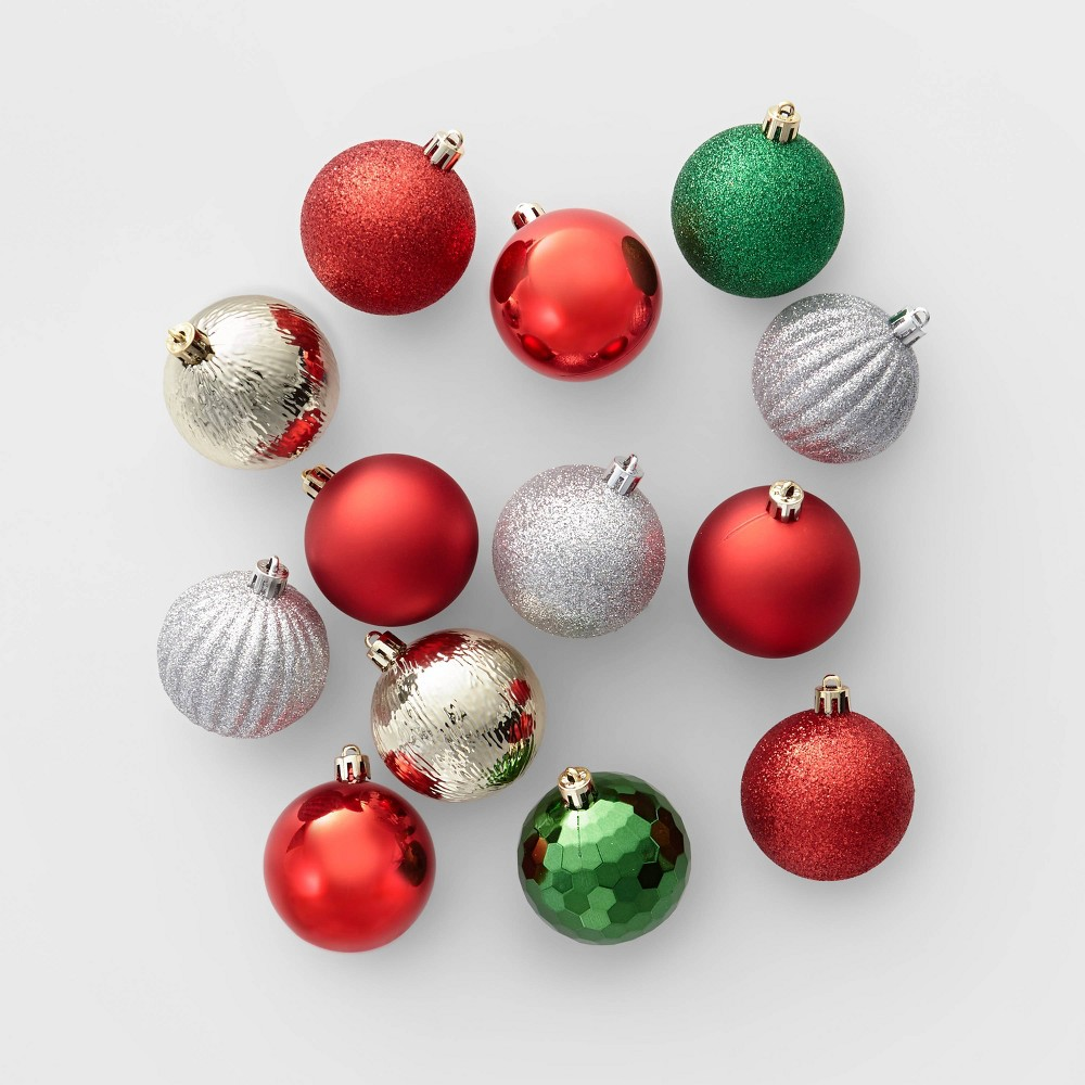 Image of 100ct Christmas Ornament Set Red Green and Silver - Wondershop , Gold Red Green