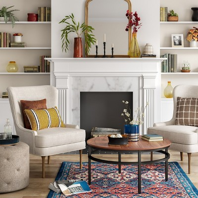 Target & Cozy Traditional Living Room With Colorful Accent Decor Collection ...