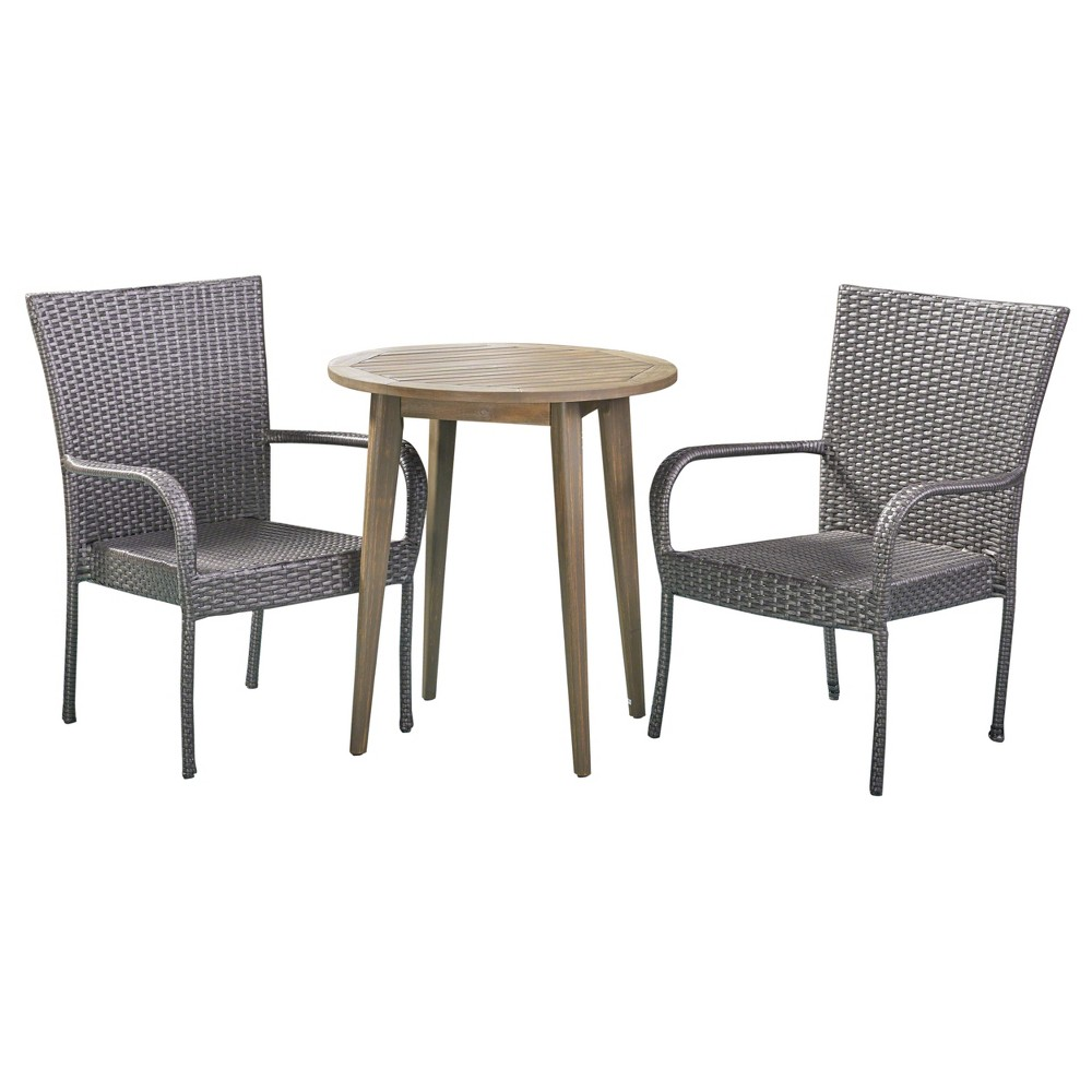 Linwood 3pc Acacia & Wicker Bistro Set - Gray - Christopher Knight Home