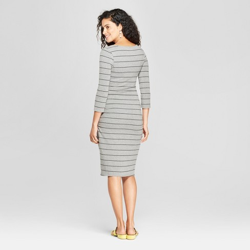 af1163d063738 Maternity Striped 3/4 Sleeve Shirred T-Shirt Dress - Isabel Maternity By  Ingrid & Isabel™ Gray : Target