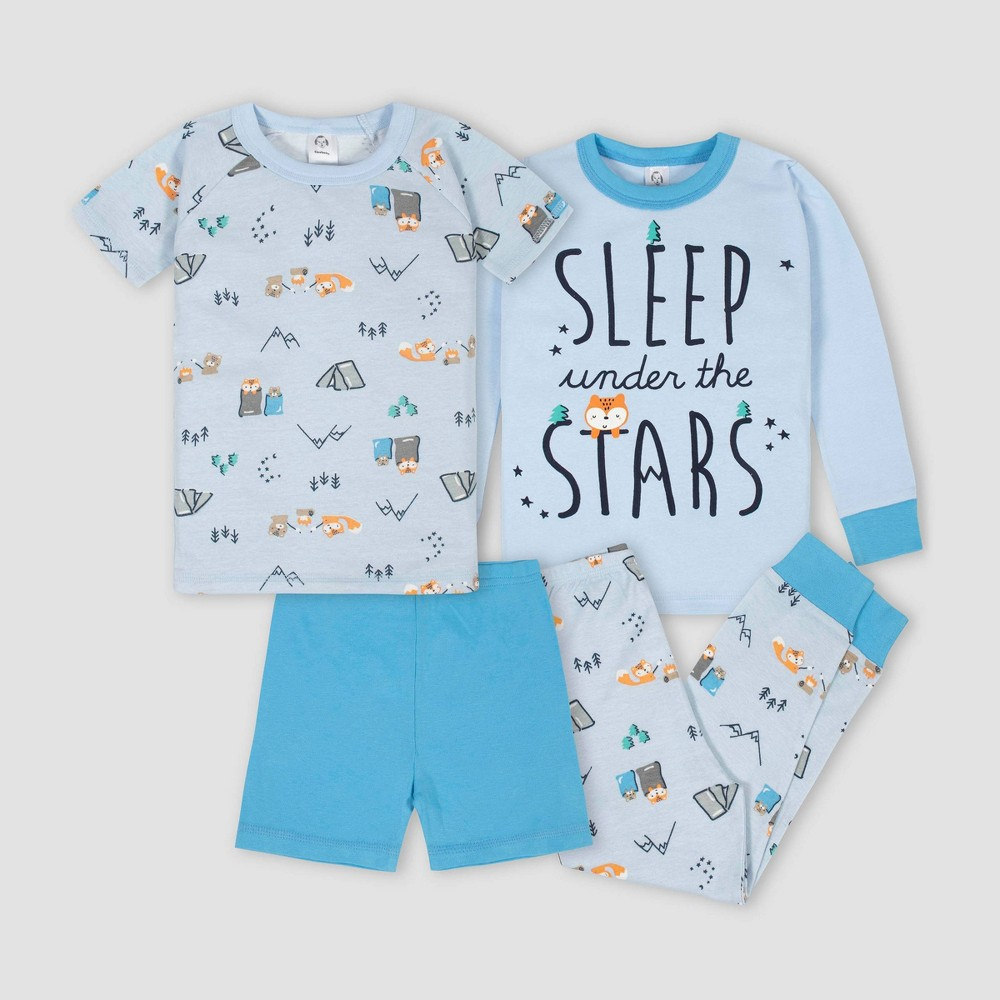 Image of Gerber Baby Boys' 4pc Stars 100% Cotton Pajama Set - Blue 12M, Boy's