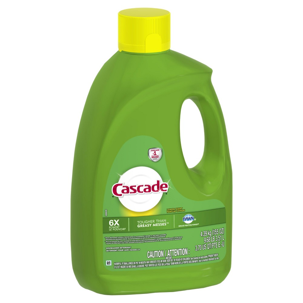 Cascade Gel Dishwasher Detergent - Lemon Scent - 155 fl oz Cascade Gel dishwasher detergent powers away greasy residue to leave your dishes sparkling. Cascade Gel dishwasher detergent is formulated with the grease fighting power of Dawn. Cascade Gel dishwasher detergent is tougher than greasy messes. Cascade Gel dishwasher detergent powers away residues and powers away tea stains along with quick dissolving. Cascade Gel dishwasher detergent is safe to use on all dishwasher safe dishes.