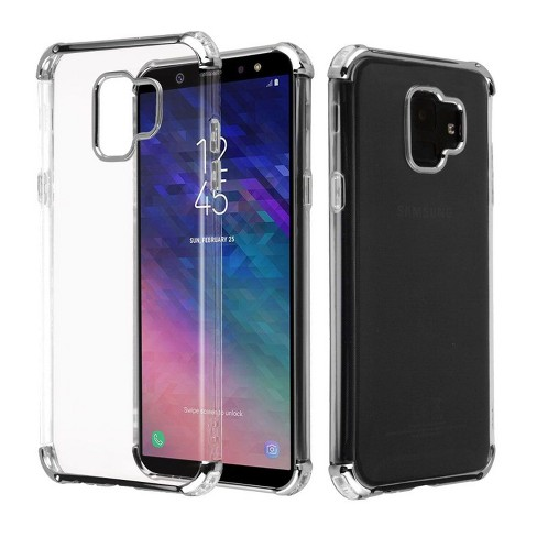 Valor Klarion Candy Rubber TPU Case Cover compatible with Samsung Galaxy A6 (2018), Clear/Silver - image 1 of 3