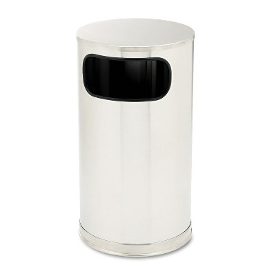 Rubbermaid Commercial European & Metallic Side-Opening Receptacle Round 12 gal Satin Stainless