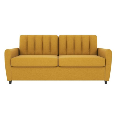 Awe Inspiring Queen Brittany Sleeper Sofa With Memory Foam Mattress Mustard Novogratz Machost Co Dining Chair Design Ideas Machostcouk