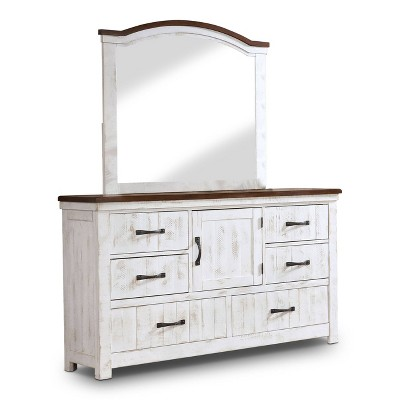 2pc Willow Rustic Dresser and Mirror Set Distressed White/Walnut - HOMES: Inside + Out
