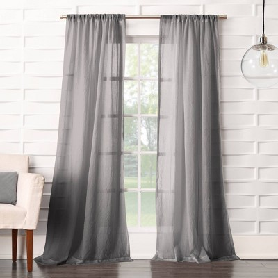 Avril Crushed Sheer Rod Pocket Curtain Panel Gray 50 x95  - No. 918