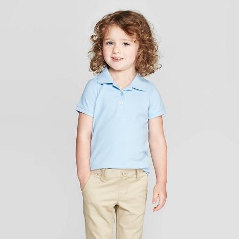 82940dd53 Toddler Girls' Short Sleeve Pique Uniform Polo Shirt - Cat & Jack™ Light  Blue 2T : Target