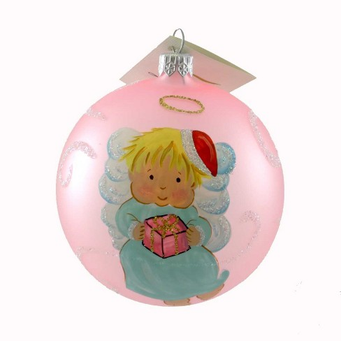 Laved Italian Ornaments Baby Girl Angel Pink Ball Christmas Santa Present  -  Tree Ornaments - image 1 of 2