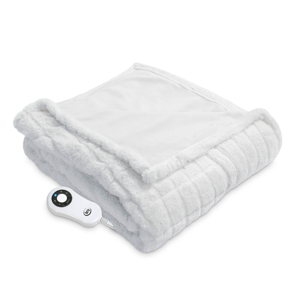 "Image of ""50"""" x 60"""" Faux Fur Electric Throw Blanket Ivory - Serta"""