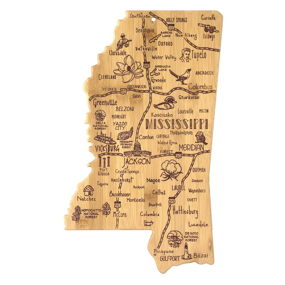 Totally Bamboo Destination Mississippi Serving And Cutting Board