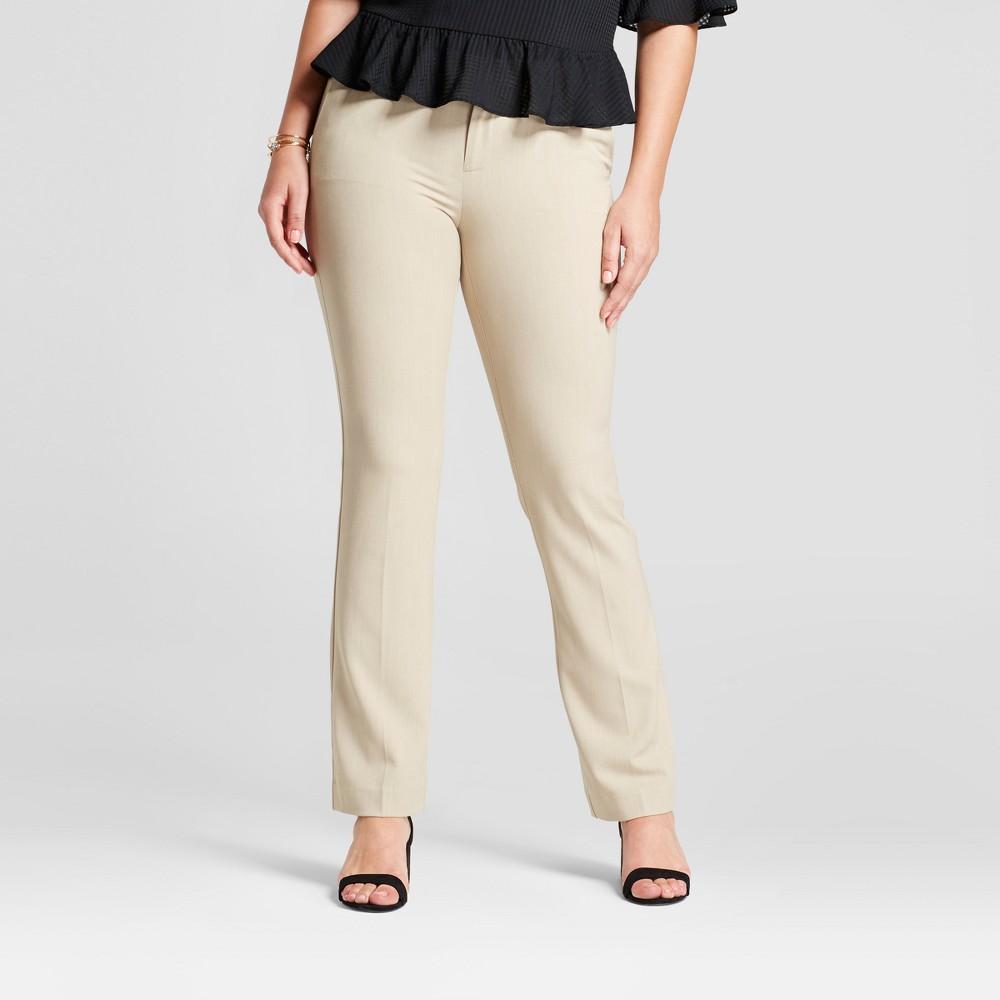 Women's Bootcut Curvy Bi-Stretch Twill Pants - A New Day Khaki (Green) 14L, Size: 14 Long