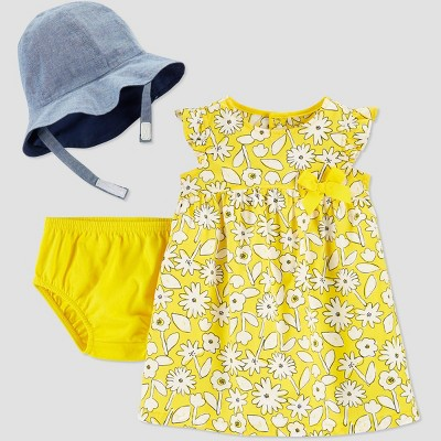 Baby Girls' 2pc Floral Top & Bottom Set with Hat - Just One You® made by carter's Yellow Newborn