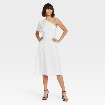 Women's One Shoulder Puff Short Sleeve Dress - Who What Wear™