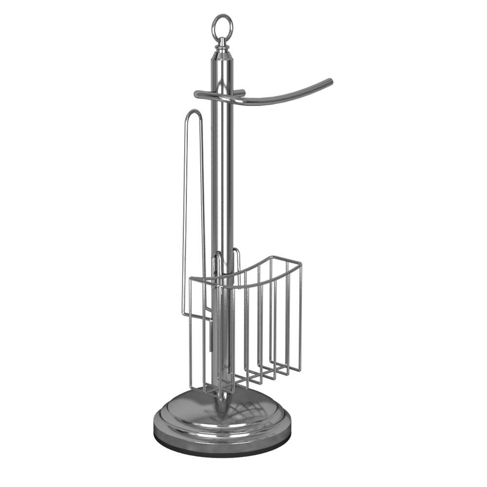 Image of Freestanding Toilet Tissue Holder Chrome (Grey) - Nu Steel