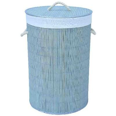 Home Basics Round Bamboo Hamper, Grey