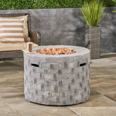 """Dino 31.75"""" Lightweight Circular Concrete Gas Fire Pit - Christopher Knight Home"""