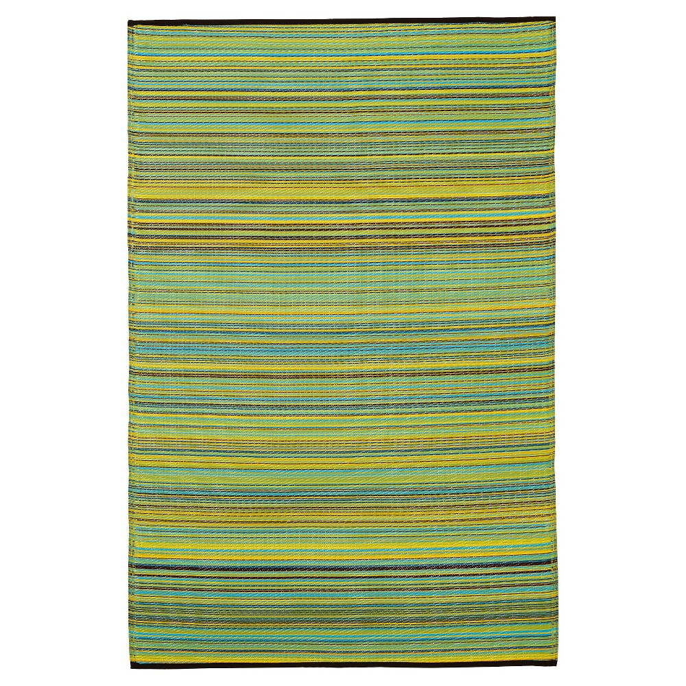 Image of Fab Habitat Outdoor Rug (4' x 6') - Cancun Lemon/Apple Green, Size: 4'X6', Yellow