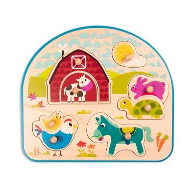 B. toys Wooden Peg Puzzle Animal Barnyard 9pc