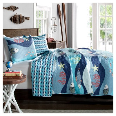 Full/Queen Sealife Quilt Set Blue - Lush Décor