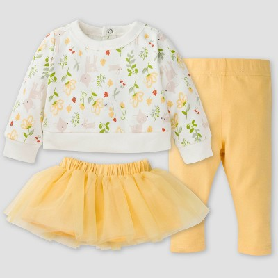 Gerber Baby Girls' 3pc Woodland Skirt Set - Yellow 0-3M