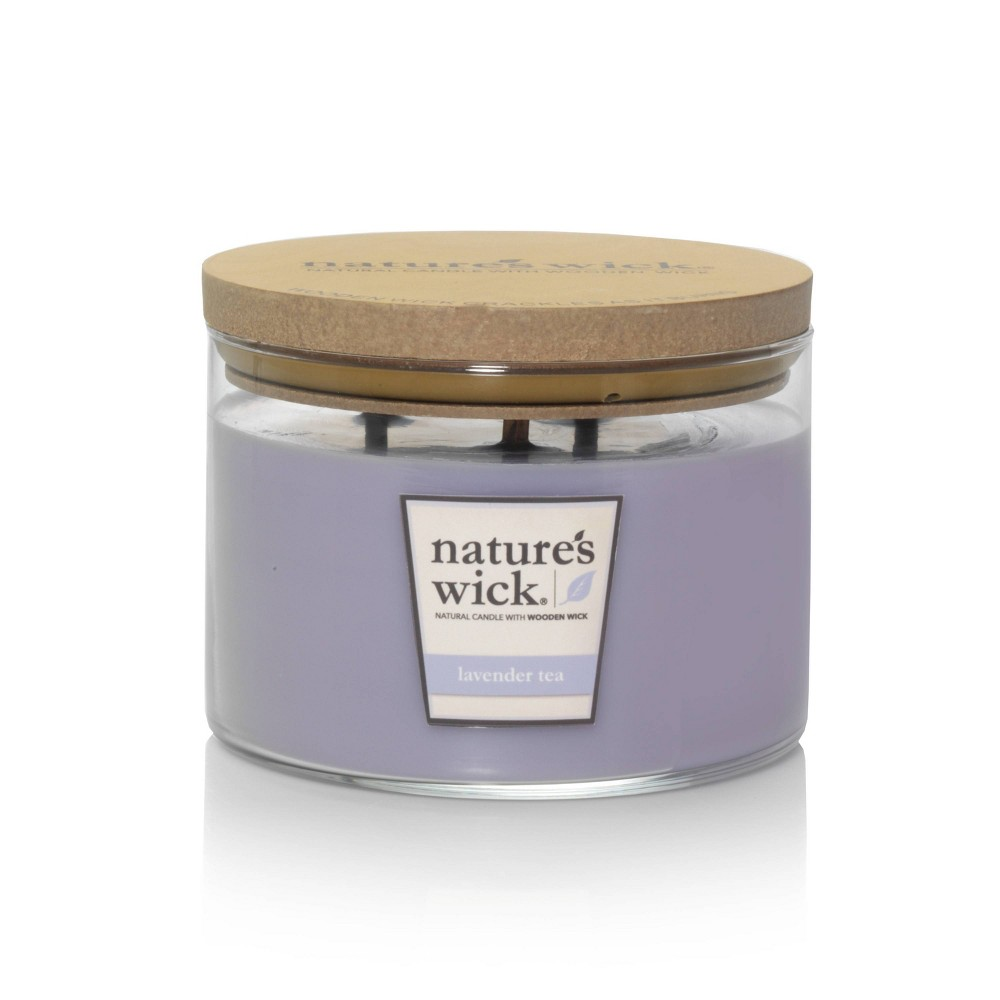 Image of 18oz Glass Jar 3-Wick Candle Lavender (Purple) Tea - Nature's Wick