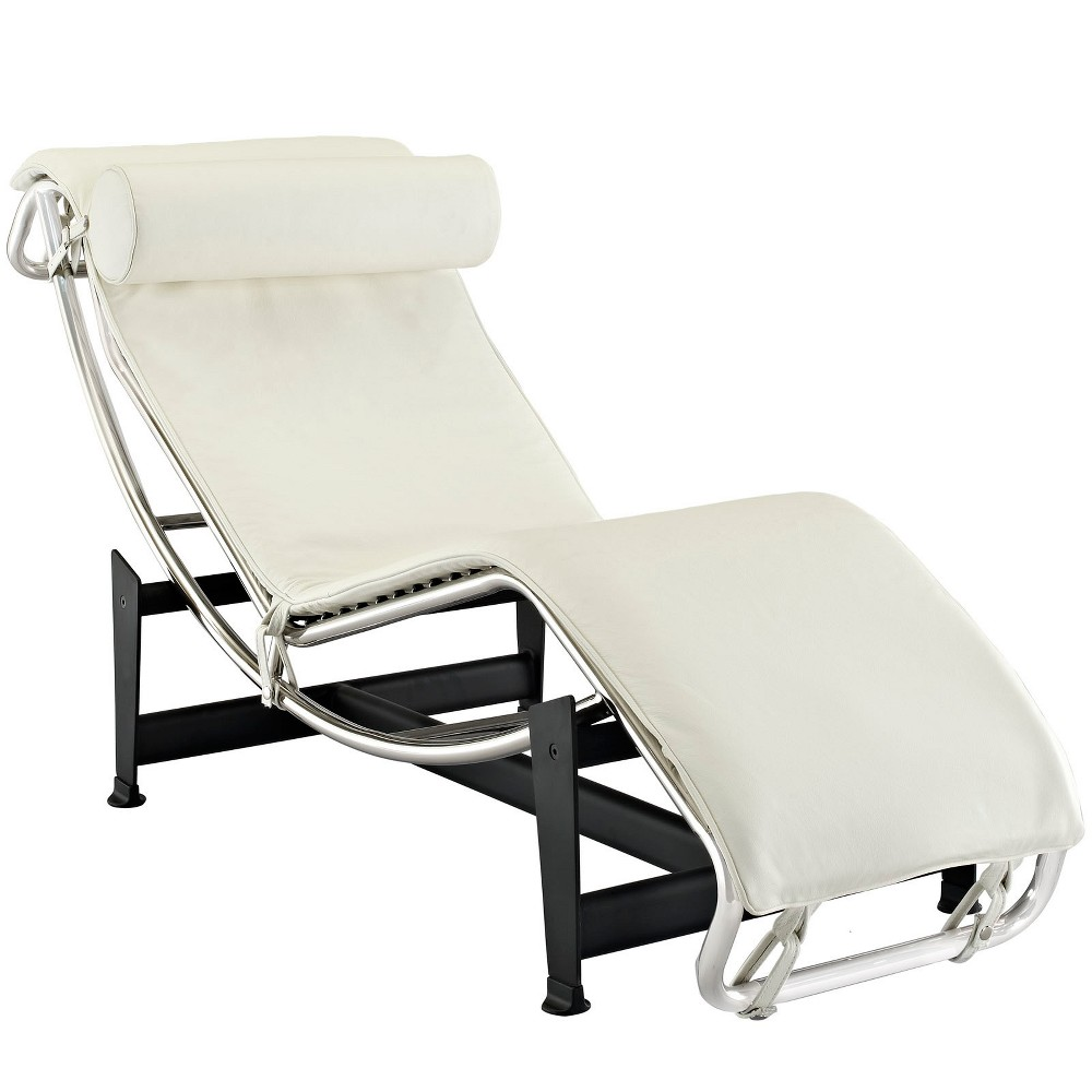 Charles Leather Chaise Lounge White - Modway