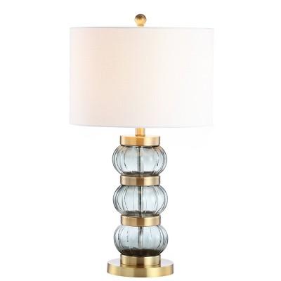 "27.5"" Glass/Metal Linna Table Lamp (Includes LED Light Bulb) Gold - JONATHAN Y"
