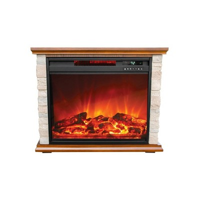 Lifesmart FP1136 Large Room Quartz Infrared Electric Fireplace Space Room Zone Heater with Remote, Faux Stone