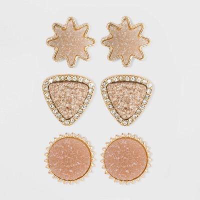 SUGARFIX by BaubleBar Chic Druzy Stud Earring Set