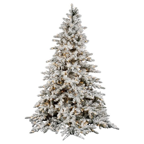 7.5ft Pre-Lit Artificial Christmas Tree Full White Flocked Pine - Clear Lights - image 1 of 1
