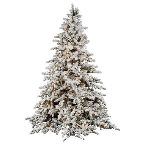 7 5ft Pre Lit Artificial Christmas Tree Full White Flocked