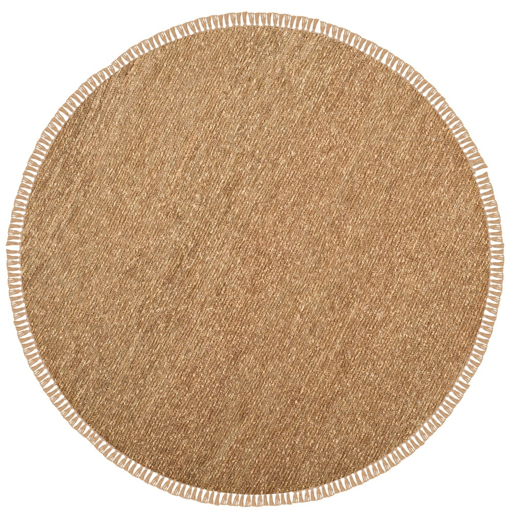 6' Woven Solid Round Area Rug Natural - Safavieh, White